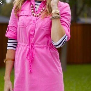 J. Crew neon pink denim drawstring shirt dress 4
